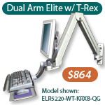 LCD monitor arm with articulating keyboard tray wall mount