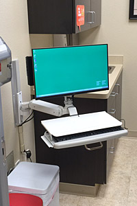 Ultra 180 with Keyboard Ultra Slide in clinic room