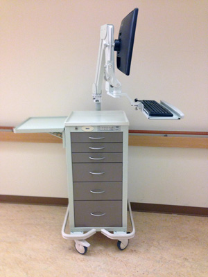 Elite 5221 Asymmetric Arm on Armstrong cart for custom medical supply cart