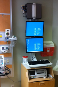 Double Monitors and CPU Mounted for Fetal Monitor Cart