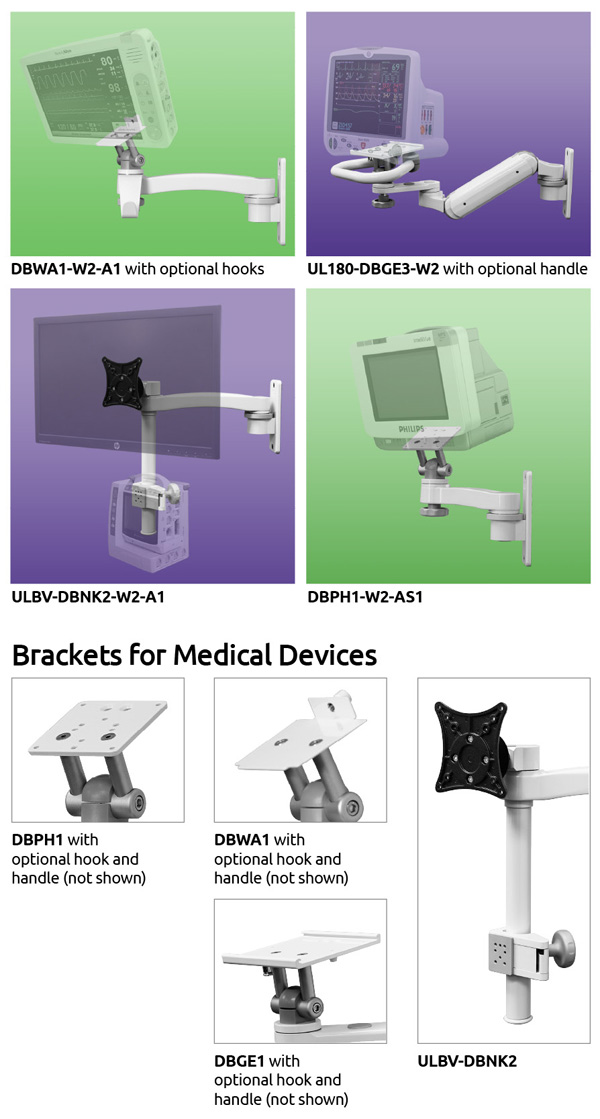ICW's brackets fit most medical device mounts including Nihon Kohden, Welch Allyn, GE, and Philips.