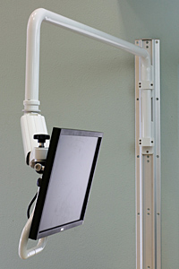 Wall track mounted Overhead Arm with Ultra 182 reaches 77