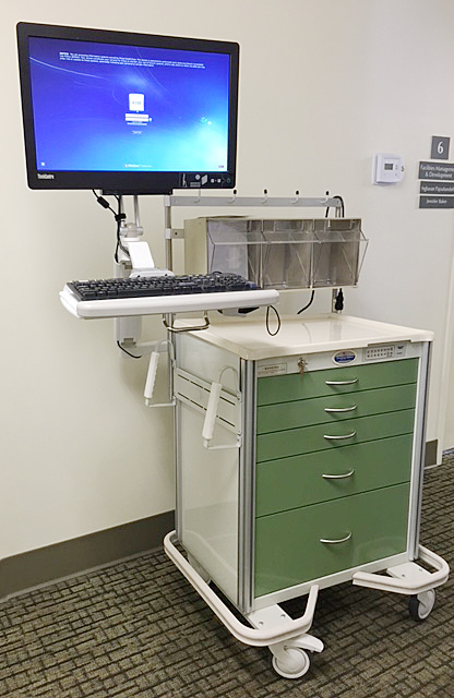 Armstrong's A-Smart Cart mounted with ICW's Ultra 180 Arm. ICW's Elite Series of computer mounting arms are also compatible with Armstrong Carts.